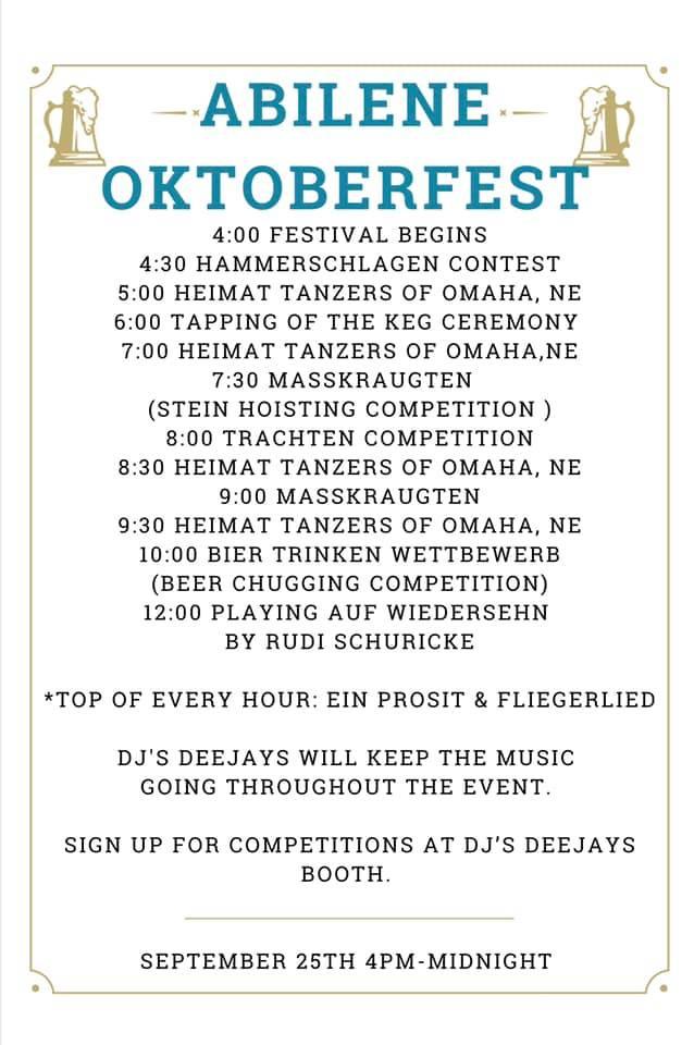 Oktoberfest-Abilene,KS-Schedule