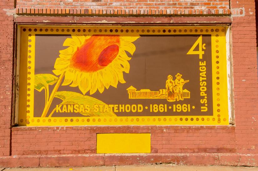 Sunflower-Stamp-Mural-Abilene,KS